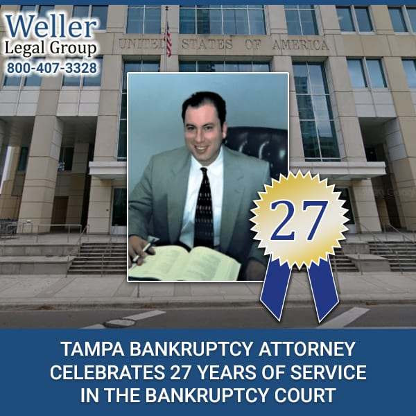 Tampa Bankruptcy Attorney Celebrates 27 Years Of Service In The Bankruptcy Court